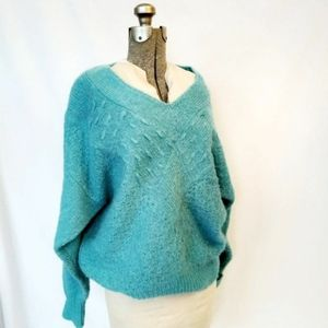 Vintage slouchy teal sweater XL v neck
